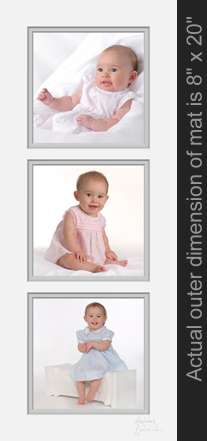 Baby Portrait collage with three photos, three months, six months, and one year old